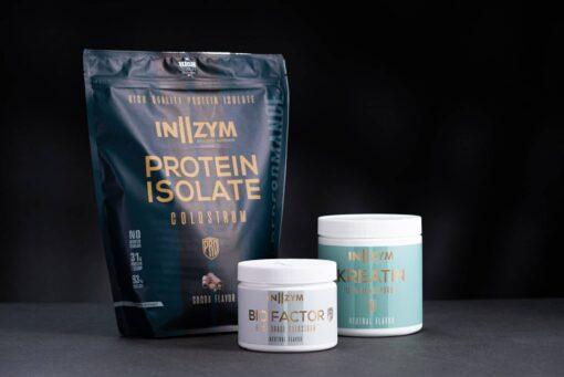 In2zym colostrum isolat proteinpulver, Bio Factor og kreatin